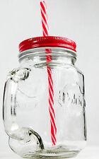 Volvic, Eistee, Icetee, Jar Glas, Eisteekrug, Eisteeglas, rote Ausführung  Halm