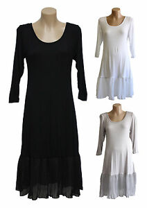 NEW FILO 3/4 Sleeve Cotton Layering Tunic Slip Dress SIZES 8 10 12 14 16