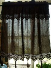 ONE Vtg Cafe Tier Curtain Panel Hand Crochet Cotton Lace Valance Chocolate Brown