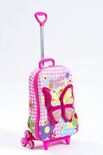 Kid's Trolley Roller Bag Girl's Butterfly 3D Rolling Suitcase Luggage