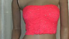 VICTORIAS SECRET Pink Silver Rhinestones Lace Bandeau Bra Color Pink Sz M NWT