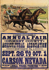 1892 Harness Racing, HORSE RACING, Vintage sports, Poster, Carson City Nevada