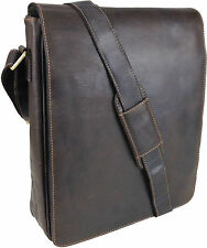 "Unicorn Real Leather 13.9"" Laptop, Netbook Messenger Bag - Brown #6M"