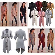 Womens Ladies Turn Up Sleeve Belted Waterfall Duster Blazer Coat Jacket- 8-24