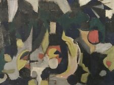 STUNNING MID 20TH CENTURY CUBIST ABSTRACT FRENCH OIL PAINTING - HESSIAN CANVAS