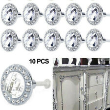 10PC Silver Clear Cristal Cabinet Handles Drawer Pulls Cupboard Door Knobs Round