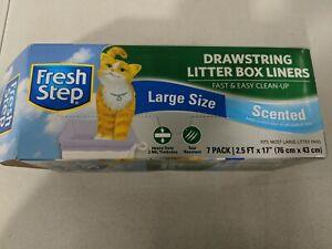 "Fresh Step Drawstring Litter Box Liners Fresh Scent Size Large 30"" x 17"" OpenBox"