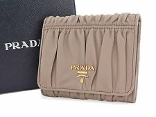 Authentic PRADA Brown Lambskin Leather Bifold Wallet and Coin Purse #25265B
