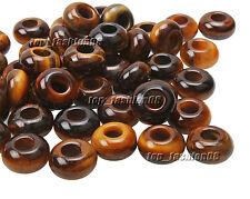 Wholesale 10 pcs 5mm Big Hole Tiger Eye Stone 8x15mm Ring Beads High Polished