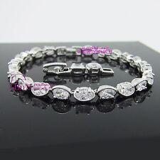 Solid 18k White Gold GF Bracelet Bangle Oval Bean Chain Snap Clasp Lab Diamonds