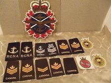 vintage Canadian military uniform shoulder boards, decals lot of 15 pieces