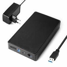 USB 3.0 externe Festplattengehäuse für 2,5 3,5 Zoll SSD HDD SATA Schwarz