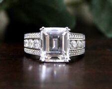 3.95 Ct Emerald Cut Bridal Unique Engagement Wedding Ring In 9K White Gold