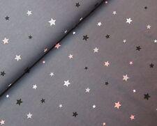 (Grundpreis: 12,00 €/m) Baumwoll-Jersey, Sterne, dunkelgrau, 0,25m, ( 8,28 €/m²)