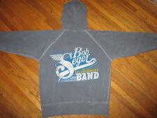 BOB SEGER HOODIE Silver Bullet Band Concert Sweatshirt Zip-Up Distressed SMALL