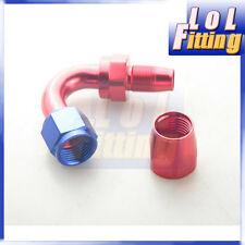 AN8 120 Degree Taper Style Swivel Hose End Full Flow Aluminum Fitting Red/Blue