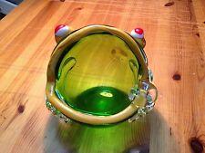 Murano Hand Blown Art Glass Green Frog Yellow Mouth Bowl