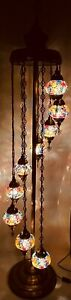 Multicolour 9 Glass Turkish Moroccan Style Handmade Glass Floor Lamp Free Bulbs
