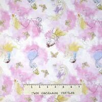 Disney Fabric - Pastel Princess Watercolor Pink - Springs CP53562 YARD