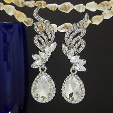 18K Plated Angel Wings Romantic Noble Style Silver Austrian Crystal Earrings