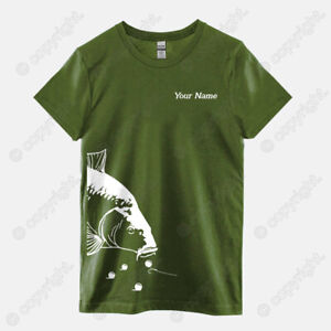 Personalised Carp Fishing T-shirt Tee Customised Fishing Gift Catfish Perch Pike