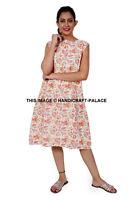 Femmes Floral Coton Main Bloc Imprimé Robe Tunique Court Vintage TAILLE S-L