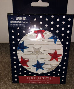 Americana Tiny Lights LED Battery Operated String Lights Red White & Blue Stars