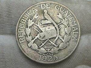 Key Date 1925 Silver ¼ Quetzal GUATEMALA.  #18