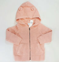 NWT Baby Gap Girls Size 12 18 24 Months 2t 3t 4t or 5t Pink Bear Hoodie Sweater