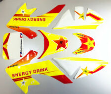 YELLOW WHITE Decals Graphics Sticker Kit CRF50 Style Fairing PIT Trail Dirt Bike