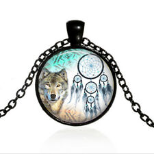 Vintage Dreamcatcher Wolf Cabochon Black Glass Chain Pendant Necklace