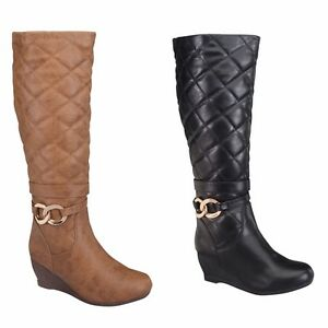 Women Wedge Heel Quilted Fashion Knee high Winter Boots ~ Size : 5.5 - 10