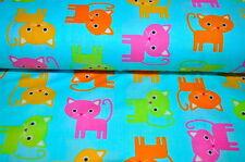 ROBERT KAUFMAN KATZEN KATZE KITTY CAT USA Designerstoff 0,5m x 1,10m BUNT T