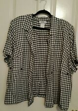 Los Angeles Women's Ladies Misses Jacket Top Rayon Acetate Blk & White Sz 24