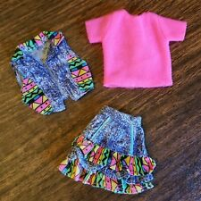 Barbie Skirt And Vest Jeans Weekend Fashion 1991 Ruffled Denim Outfit Neon Pops