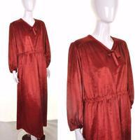 VINTAGE 70's Deep Red Velvet Maxi Dress 16 18 Boho Hippy Retro Seventies