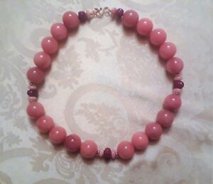 MIRIAML HANDMADE RED AGATE RUBY PINK OPAL 14K ROSE GOLD NECKLACE - One of A Kind