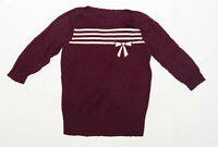 BHS Womens Size 12 Striped Burgundy Bow Jumper (Regular)