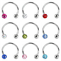 HORSE SHOE PIERCING FERIDO BALL TRAGUS CRYSTAL HELIX LIP LABRET EAR EARRING RING