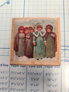 Christmas Carol Singers Wooden Rubber Stamp Block