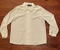 Laura Scott Polyester Long Sleeve Top Blouse Women's Size 14 Embroidered Design