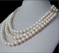 """3rows natural 7-8mm south sea white pearl necklace 17""""18""""19"""" INCH 14K GOLD CLASP"""