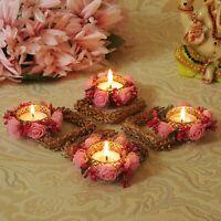 Home Decoration Diwali Candle Holder Set Floral Floating Tealight Candle Holders