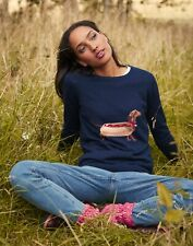 Joules Womens Miranda Knitted Intarsia Crew Neck Jumper - Navy Hot Dog