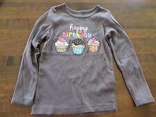 Carters Girls Brown Long Sleeve Happy Birthday Cupcake Shirt Top Size 5 EUC