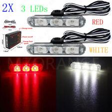 Red White 2X 3 LED Control Car Truck Emergency Warning Strobe Flashing Light Bar