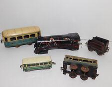 à RESTAURER vintage LOT 5 ancien WAGON TRAIN JOUETS HORNBY UNIS tin TOYS loco
