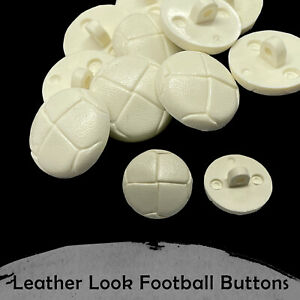 Plastic Football Buttons White Leather Look Shank Coat DIY Jacket Crafts 20/23mm