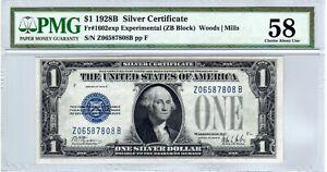 Fr.1602exp $1 1928 B Z-B Block Experimental Silver Certificate PMG Choice AU 58
