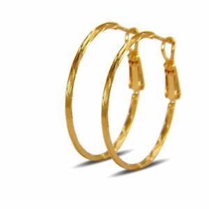 Blue Diamond Club - Creole Hoop Earrings For Women 18ct Gold Filled 30mm 18k GF